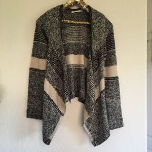 RD Style Grey Striped Knit Sweater